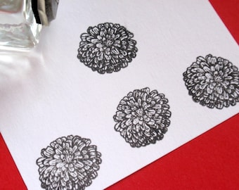 Tiny Zinnia Rubber Stamp - Photopolymer -  Handmade by BlossomStamps