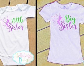 Tinkerbell Big Sister Little Sister Outfit - Bodysuit or Tshirt - Photo prop - Newborn