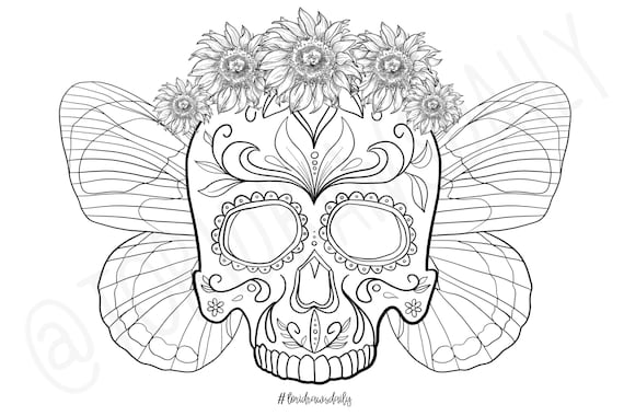 Skull Flower Crown with Butterfly Wings COLORING PAGE