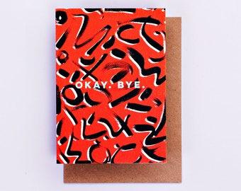 Okay Bye Red Card, Farewell Card, Fashion Cards, Fashion Gift, 80's Print, Goodbye Card, Illustrated Card, Fashion Stationery, A6 Card