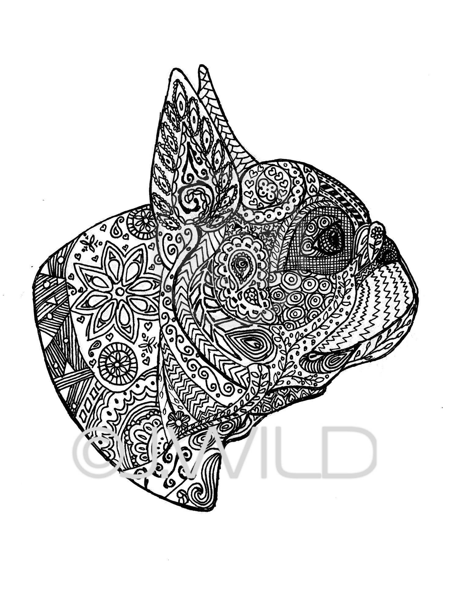 Französische Bulldogge Zen Zeichnung Schwarz & weiß