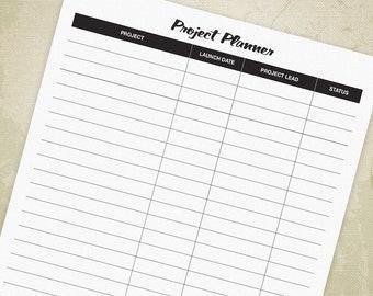 Project Planner Printable PDF, Project Log, Work In Progress Log, Planner Log, Project Printable Tracker, Digital File, Instant Download