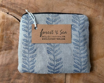 Linen Pouch, Block Printed Coin Purse | Botanical printed purse, indigo on grey linen, hand printed grey and blue leaf print bag.