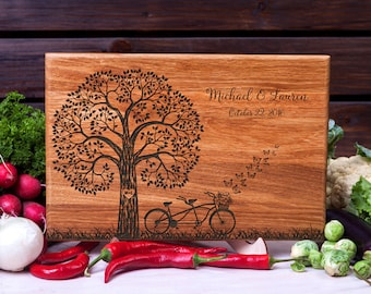 Personalized Cutting Board Tandem Bike cutting board Wedding gift Housewarming gift Anniversary Gift for Couple Wood Chopping Board