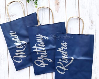 Custom name gift bag etsy personalized gift bags bridesmaid gift bags thank you bag bridal shower gift bag negle Image collections