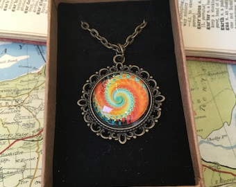 Pendant Necklace Ammonite Psychedelic Abstract Fossil Cosmic Orange Aqua Yellow Antique Vintage Chain Birthday Mother's Day Ladies Gift