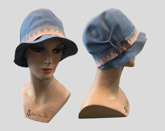 1920s Blue Felt Cloche Hat