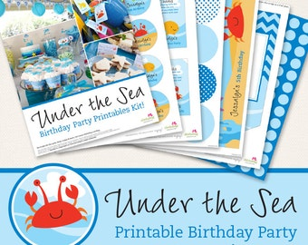 Under the Sea Birthday Party Printable Decor Kit - Over 45 pages of fun personalized printables!