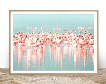 Flamingo Print, Instant Digital Download, Large Printable Wall Art Poster, Birds Photography, Pastel Pink, Blue, Aqua, Tropical Water