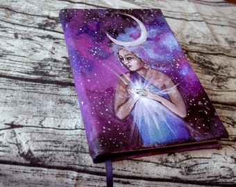 Crescent Woman Goddess Journal 160p Blank Book of Shadows painted Grimoire
