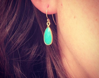 NEW - Turquoise Gemstone Teardrop Earring - Minimalist Jewelry  - Perfect Gift - Minimalist - Simple Everyday - Gift For - Wedding Jewelry