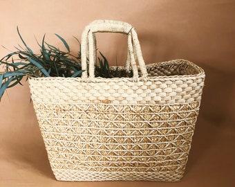 Vintage   Woven Market Basket Tote