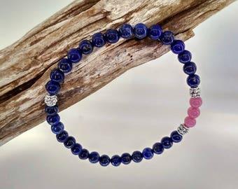 Women bracelet, Crystal healing, zen - Lapis lazuli (blue) and Rhodocrozite (Pink)