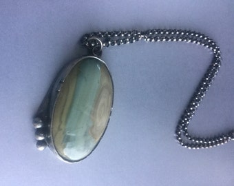Large stone pendant necklace unique and hand made silver and argentium