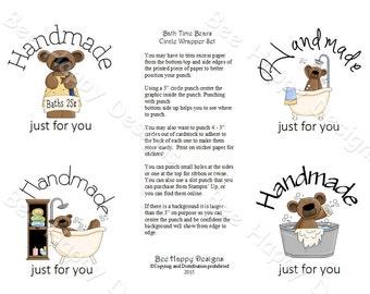 "PDF Printable ""Bathtime Bears"" Circle Wrapper/Label Set - NO background graphic"