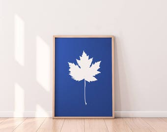 Maple Leaf Cyanotype Art Print, Maple Leaf Print Art, Botanical Design, Printable Art, Printable decor, Easy Home Decor, Maple leaf design,