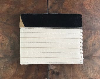 Beige Pinstripe Wool, Black Corduroy, and Tan Linen Bifold Mens Wallet with Mint Interior