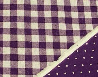 Reversible Print Checker and Dot (Purple) Japanese Fabric - 110cm x 50cm