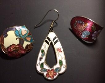 LOT (3) Cloisonne Butterfly Earrings