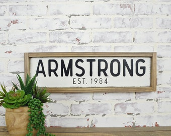 Family Name Custom Sign, Rustic Home Decor, Customized Signs, Personalized Sign, Farmhouse Sign, Fixer Upper Decor, Framed Sign, Custom Gift