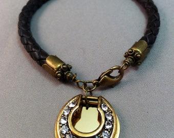Rhinestone Horseshoe Pendant Leather Bolo Bracelet, Leather Bolo Bracelet, Horseshoe Bracelet