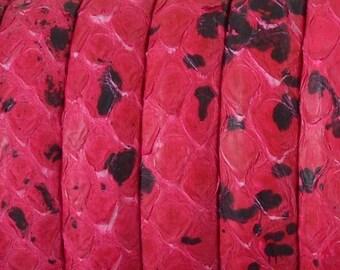 Snake leather Python - 10mm - Fuchsia and black - 20 cm - CD1016FUCF105