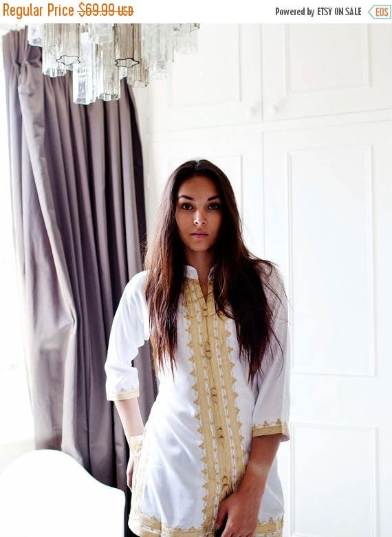 KAFTAN 20% SALE/ Spring Boho| Handmade White & Gold Moroccan Tunic-perfect for birthday gifts, beach, resort wear, honeymoon gifts, bohemian