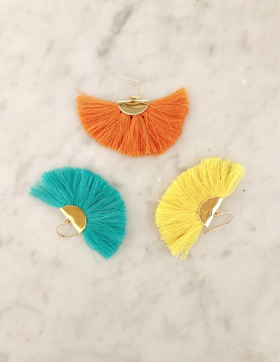 Earbobs -  Bright Fan Tassel