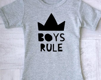 Boys Rule baby boy clothes, Baby Boy Clothes, Baby Shower Gift, Cute Baby, Boys Rule outfit. Modern baby clothes.