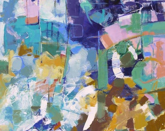 "MODERN ART ""Invite"" Original Abstract Painting 30"" x 40"" canvas Direct from the studio by Elizabeth Chapman"