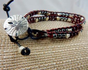 Garnet January birthstone leather wrap bracelet