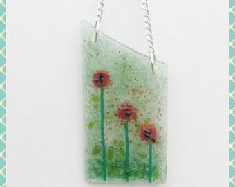 Poppy, Poppies, Fused Glass Suncatcher, Light Catcher, Fused Glass Art, Fused Glass, Fused Glass Wall Hanging, Suncatcher, Minerva Hot Glass
