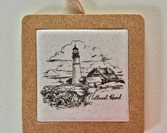 Upcycled Decorative Ceramic Tile Coaster / Trivet / Hot Plate / Wall Decor, Hand Printed In Portland,  Maine, Free Shipping USA