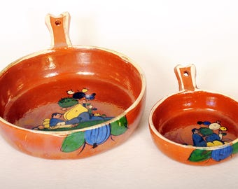 Vintage Mexican Serving Pots Redware Pottery 2 pcs