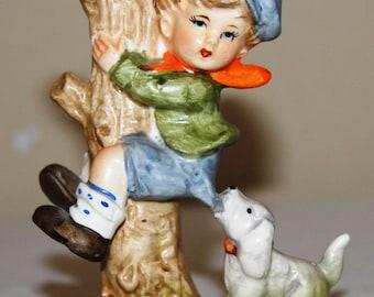 Vintage Lefton Figurine of Boy and Dog