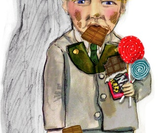 Ode to Augustus Gloop ... Charlie and the Chocolate Factory inspired ... limited edition print