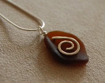 Unique Amber Brown Seaglass Necklace, New England Sea Glass with Sterling Silver Spiral - Maine Beach Glass - OOAK, Ready to ship!