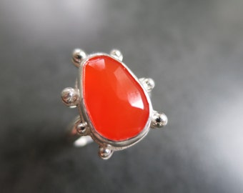 Carnelian Ring, Rosecut Ring, Sterling Silver Ring, Statement Ring, Handmade Ring, Size 5.25, Size 5 1/2