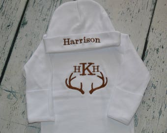 Personalized Infant Gown and Cap Set Buck Antleer Monogram Hunting Set