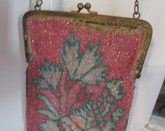Glittering Fuschia BEADED VICTORIA BAG on Brass Frame