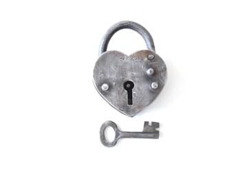 Vintage Heart Shaped Lock and Key . Working heart lock heart padlock wedding LOVE LOCK . anniversary gifts for men