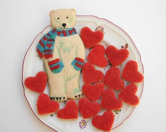 Polar Bear Mothers Day Gift Birthday Favor Polar Bear Art Heart Cookies Edible Gift Decorated Cookies Under 30 Baked Goods