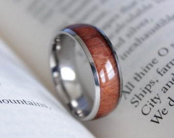 Men's Koa Acacia Wood Inlay Titanium Ring Size 10 Comfort Fit