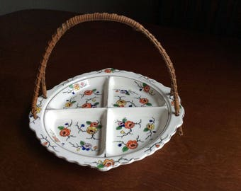 Hand painted Japanese divided relish tray.  Bamboo or wicker handle.  Some crazing.