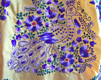 Mexican dress, Yellow Dress, Embroidered Mexican, Floral embroidery, Cinco de Mayo, size XL
