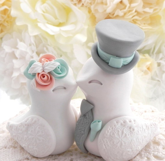 Love Birds Wedding Cake Topper, White, Peach, Mint Green and Grey, Bride and Groom Keepsake, Fully Customizable