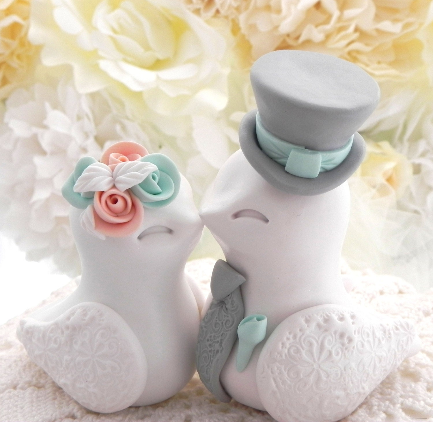 Love Birds Wedding Cake Topper White Peach Mint Green and