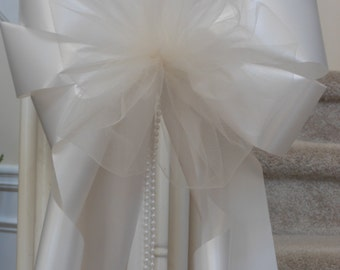 """SALE add your flowers 10"""" pearl beads extra tulle wedding party decoration chair pew bows white ivory lavender pink burgundy navy peach pink"""