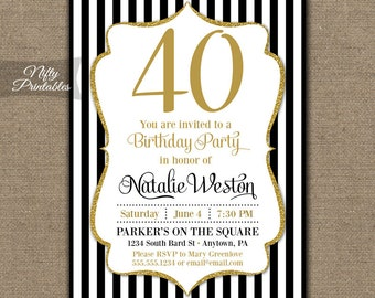 40th Birthday Invitations Printable 40 Black Gold Glitter