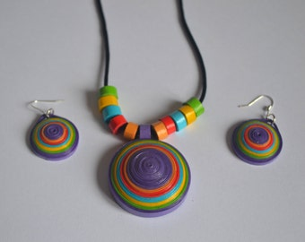 Quilling paper jewellery, jewellery set, paper round necklace, quilled jewellery, eco jewelry, gift for her, quilled jewelry set, Quilled
